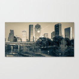 Houston Skyline Panorama Over the Buffalo Bayou - Sepia Edition Canvas Print