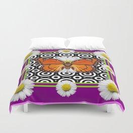 Purple Monarch Butterfly Shasta Daises Decor Art Duvet Cover