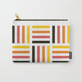 Geometric Pattern #71 (yellow pink stripes) Carry-All Pouch