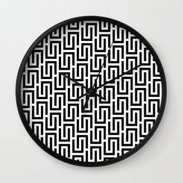 Geometric Pattern 140 (black white) Wall Clock
