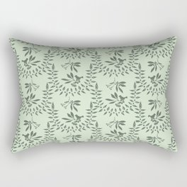 Green Nature Olive Leaf Berry Birds Branch Rectangular Pillow