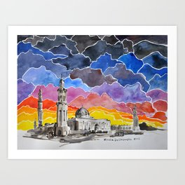 Sultan Qaboos Grand Mosque, Muscat, Oman Art Print