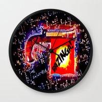 bazinga Wall Clocks featuring BAZINGA!   -   012 by Lazy Bones Studios