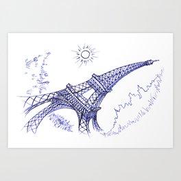 Eiffel Tower in Blue Art Print