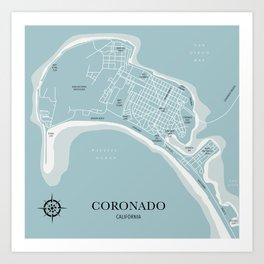 Blues Coronado California Map Art Print