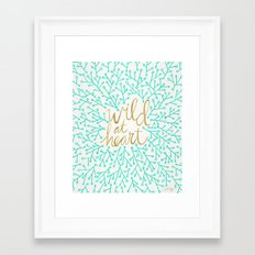 Wild at Heart – Turquoise & Gold Framed Art Print