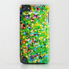 HOLIDAY CHEER - Bold Christmas Festive Green Red Yellow Sparkle Stars Glitter Bling Abstract Art Slim Case iPod touch