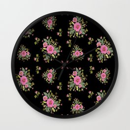 Pink Rose Bouquets Wall Clock