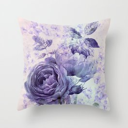 roses and ivy in purple Throw Pillow