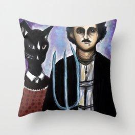 Edgar Allen Poe and Black Cat Throw Pillow