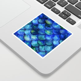 Blue Watercolor Mermaid Sticker