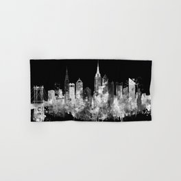 New York City Inverted Watercolor Skyline Hand & Bath Towel