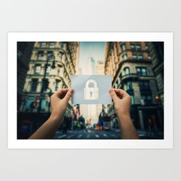 holding lock symbol Art Print