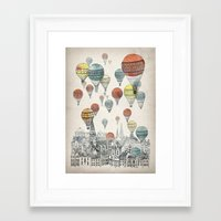 yellow pattern Framed Art Prints featuring Voyages over Edinburgh by David Fleck