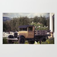 truck Area & Throw Rugs featuring Tulip Truck by Manda's Photography