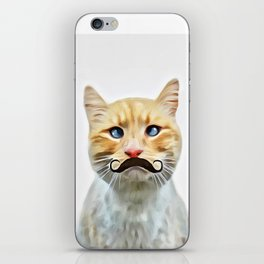 chat avec une moustache (Cat with a mustache in French) iPhone Skin