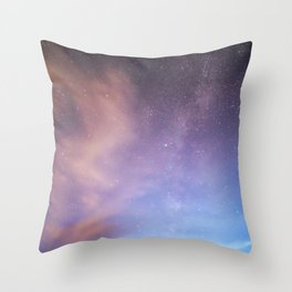 Pink Blue Glitter Galaxy Throw Pillow