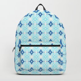 Retro Blue Diamonds & Turquoise Flowers Backpack