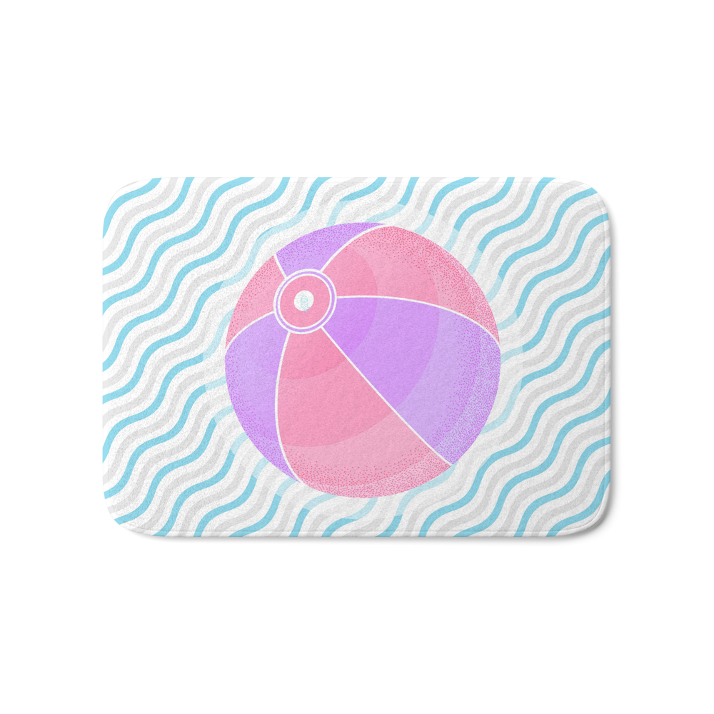 020 Volleyball Game On The Beach Bath Mat by owlychic
