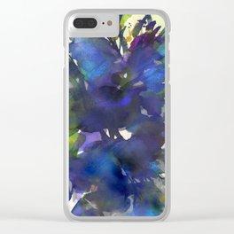 Blue Butterfly Poppy Clear iPhone Case