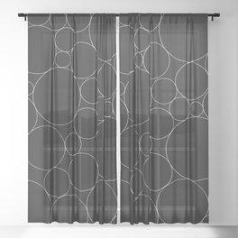 Circular Collage - Black & White I Sheer Curtain