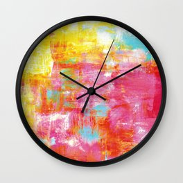 OFF THE GRID 2 Colorful Pink Pastel Neon Abstract Watercolor Acrylic Textural Art Painting Rainbow Wall Clock