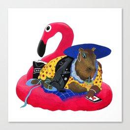 Capybara Chilling on Pink Flamingo Swimming Circle Canvas Print