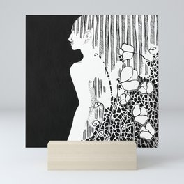 """""""Flowers for ..."""" - black and white ink drawing of a male figure. Mini Art Print"""