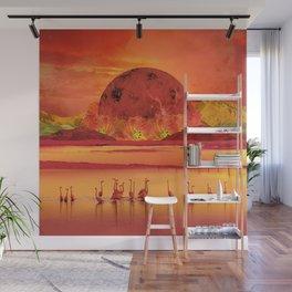 Flamingos sunset Wall Mural