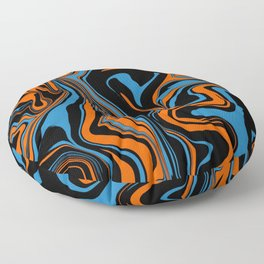 Blue Orange and Black Abstract Marble Floor Pillow