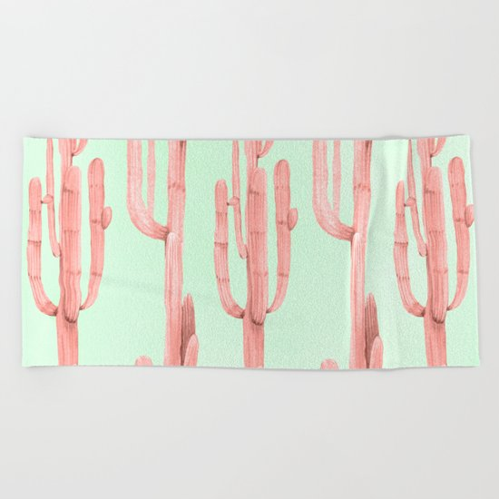 Cactus Stack Pink + Mint Beach Towel