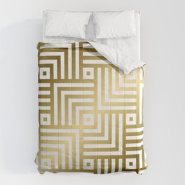 Art Deco Gold and Porcelain White Geometric Pattern Comforters