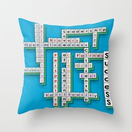 Cross Word Puzzle of Success Throw Pillow