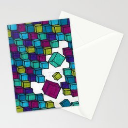 Impossible falling bricks Stationery Cards