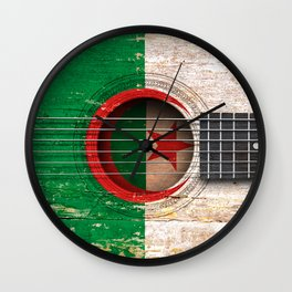 Old Vintage Acoustic Guitar with Algerian Flag Wall Clock