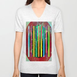 Galactic Stripes - Abstract, geometric, space themed artwork Unisex V-Neck