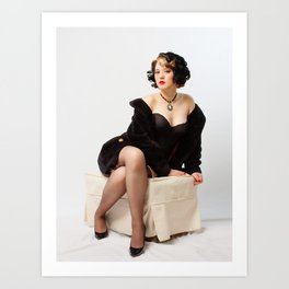 """""""Fur Coat #1"""" - The Playful Pinup - Sexy Vintage Pinup in Fur Coat by Maxwell H. Johnson Art Print"""
