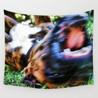 beast Wall Tapestries featuring Wild Beast by Rachel's Pet Portraits