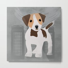 Jack Russel Dog in brown and white color Metal Print