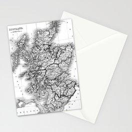 Vintage Map of Scotland (1832) BW Stationery Cards