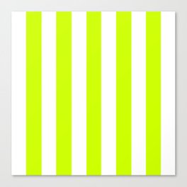 Volt green - solid color - white vertical lines pattern Canvas Print