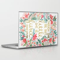 typography Laptop & iPad Skins featuring Little & Fierce by Cat Coquillette