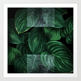 tropical green pattern on black Art Print