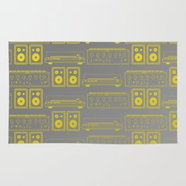 70's Record Player, Amplifier and Speakers in yellow and grey Rug