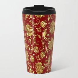Dark Red & Gold Floral Damasks Pattern Travel Mug