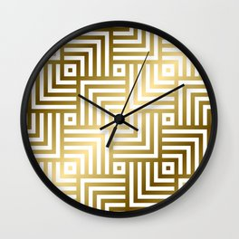 Art Deco Gold and Porcelain White Geometric Pattern Wall Clock