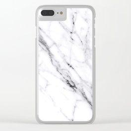 Carrara White Marble Clear iPhone Case