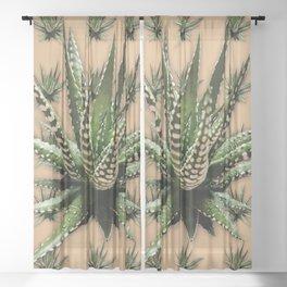 Aloe Vera abstract field Sheer Curtain