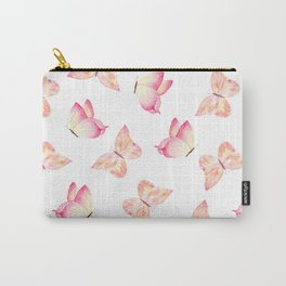 Hand painted pink coral watercolor pretty butterflies Carry-All Pouch
