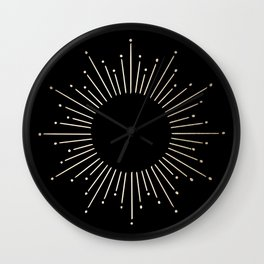 Sunburst White Gold Sands on Black Wall Clock